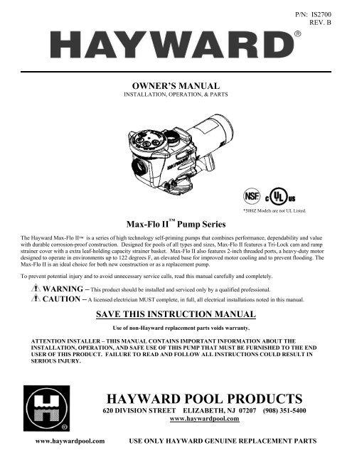 spesifikasi Pompa Kolam Renang Hayward 1Hp (Max Flow)